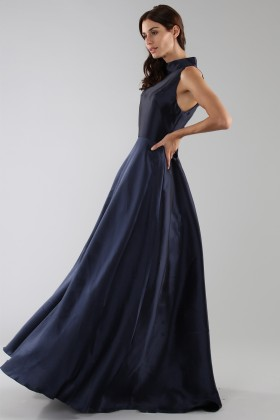 Blue dress with a back teardrop neckline - ML - Monique Lhuillier - Rent Drexcode - 2
