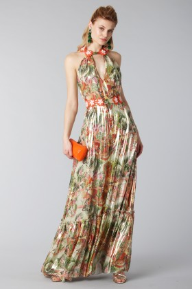 Long shiny dress with floral pattern - Piccione.Piccione - Rent Drexcode - 1