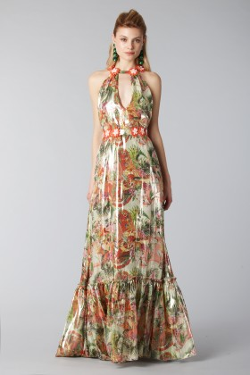 Long shiny dress with floral pattern - Piccione.Piccione - Rent Drexcode - 2