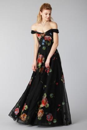 Long off shoulder black dress with floral pattern - Marchesa Notte - Rent Drexcode - 1