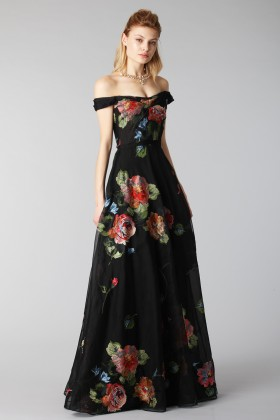 Long off shoulder black dress with floral pattern - Marchesa Notte - Rent Drexcode - 2