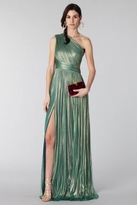 Glittery green single-shoulder dress - Cristallini - Rent Drexcode - 2