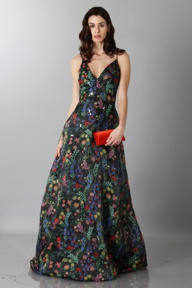 Black floral patterned dess with straps - Tube Gallery - Rent Drexcode - 1