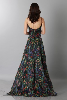 Black floral patterned dess with straps - Tube Gallery - Rent Drexcode - 2