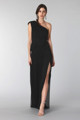 Black dress with single shoulder silk - Cristallini - Rent Drexcode - 2