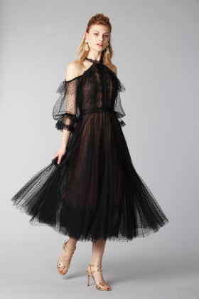 Off shoulder dress in microplumetis - Marchesa Notte - Rent Drexcode - 1