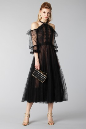 Off shoulder dress in microplumetis - Marchesa Notte - Rent Drexcode - 2