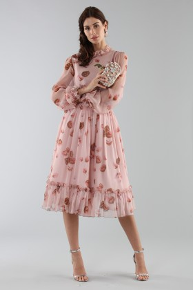 Pink dress with floral pattern and rouches - Luisa Beccaria - Rent Drexcode - 1