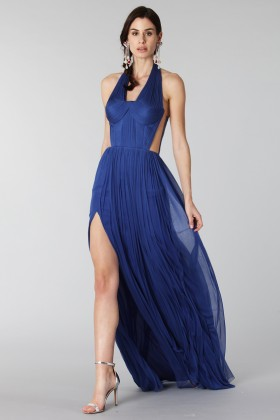 Purple silk dress with side slits - Cristallini - Rent Drexcode - 2
