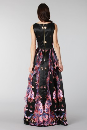 Black silk dress with brocade print - Tube Gallery - Rent Drexcode - 2