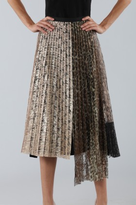 Pleated skirt with leopard print panel - Antonio Marras - Sale Drexcode - 2