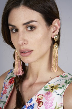 Earrings in gold and pink rope - Rosantica - Rent Drexcode - 1