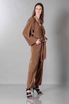 Long sleeve brown jumpsuit - Albino - Rent Drexcode - 2