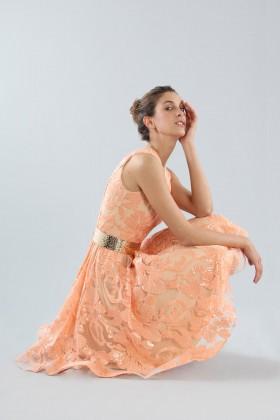 Short peach dress with transparent neckline  - Forever unique - Rent Drexcode - 1
