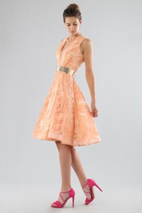 Short peach dress with transparent neckline  - Forever unique - Rent Drexcode - 2