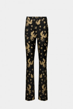 Golden printed trousers - Giuliette Brown - Rent Drexcode - 1