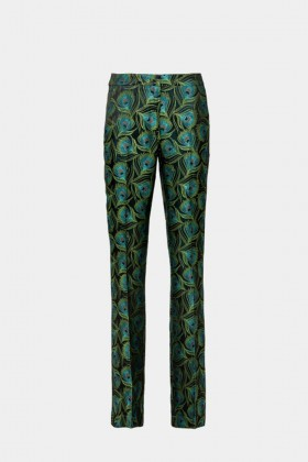 Peacock print trousers - Giuliette Brown - Rent Drexcode - 1