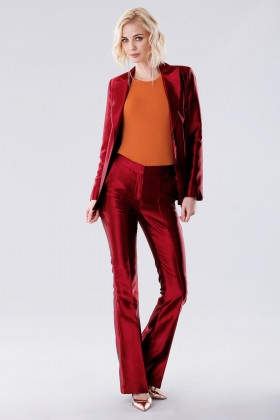 Burgundy satin suit with trousers and double-breasted jacket - Giuliette Brown - Rent Drexcode - 1