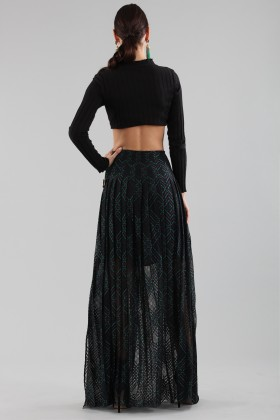 Long checkered skirt with transparencies - Philosophy - Sale Drexcode - 2