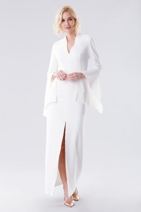 White dress with open bell sleeves - Halston - Rent Drexcode - 1