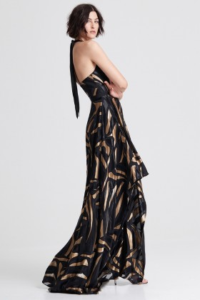 Long dress with golden print - Halston Heritage - Rent Drexcode - 1