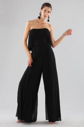 Black bustier jumpsuit - Halston - Rent Drexcode - 2
