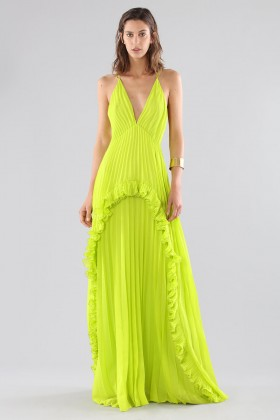 Lime dress with ruffles and back neckline - Halston - Rent Drexcode - 2