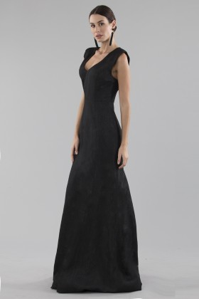 Black dress with shiny texture  - Halston Heritage - Rent Drexcode - 1