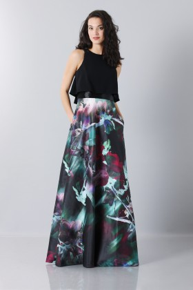 Dress with patterned skirt and crop top - Theia - Sale Drexcode - 1
