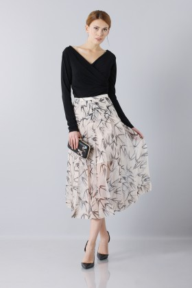 Longuette skirt patterned with swallows - Rochas - Rent Drexcode - 1
