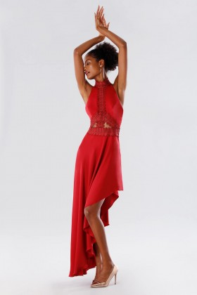 Red asymmetrical dress with transparencies - Kathy Heyndels - Sale Drexcode - 1