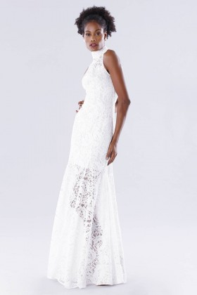 White high neck lace dress - Kathy Heyndels - Rent Drexcode - 1