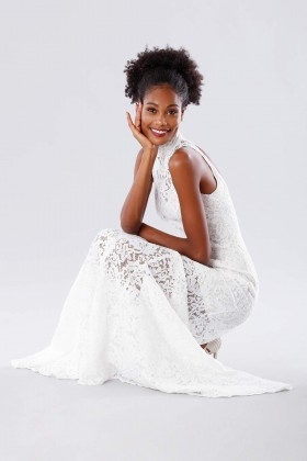 White high neck lace dress - Kathy Heyndels - Rent Drexcode - 2