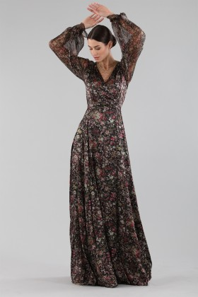 Long wrap dress with floral pattern - Luisa Beccaria - Rent Drexcode - 1