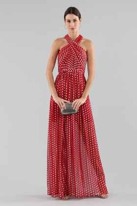 Polka-dot dress with wrap cross lacing at the neck - ML - Monique Lhuillier - Rent Drexcode - 2