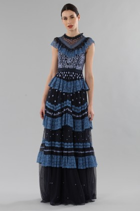 Long dress with flounces and floral embroidery - Needle&Thread - Rent Drexcode - 1