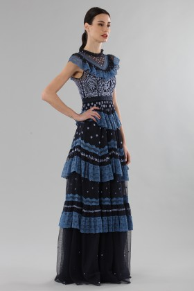 Long dress with flounces and floral embroidery - Needle&Thread - Rent Drexcode - 2