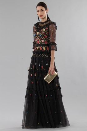 Long black dress in tulle with floral decorations - Needle&Thread - Rent Drexcode - 2