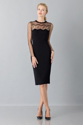 Black dress with lace decorations and plumetis - Blumarine - Rent Drexcode - 1