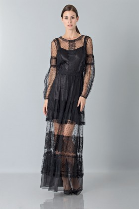 Silk dress with lace inserts and transparencies - Alberta Ferretti - Rent Drexcode - 1