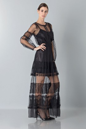 Silk dress with lace inserts and transparencies - Alberta Ferretti - Rent Drexcode - 2