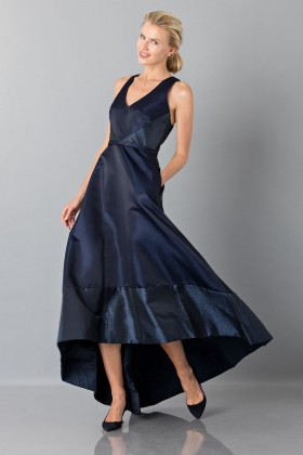 Long asymmetrical blue dress with V-neck - Theia - Sale Drexcode - 1