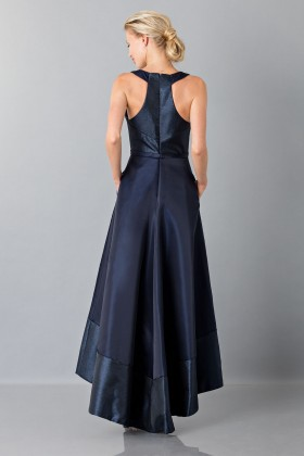 Long asymmetrical blue dress with V-neck - Theia - Sale Drexcode - 2