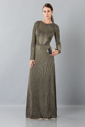 Long sleeve dress with golden textures - Vionnet - Rent Drexcode - 1