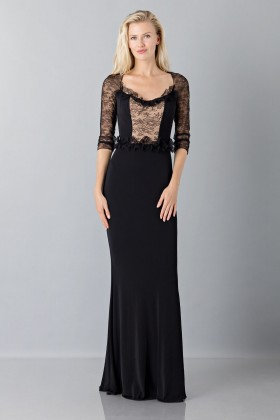 Black mermaid dress with lace sleeves - Blumarine - Rent Drexcode - 1
