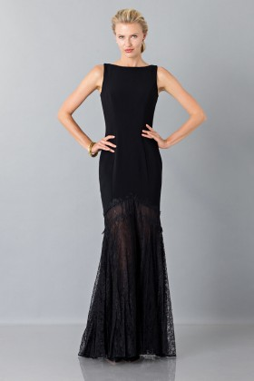 Black dress with transparent lace skirt - Theia - Rent Drexcode - 1