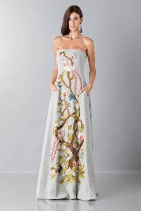 Gray woolen bustier with floral themed applique - Alberta Ferretti - Rent Drexcode - 1