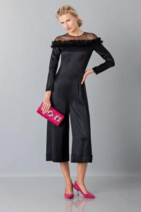 Longuette jumpsuit dress with off shoulder lace - Blumarine - Sale Drexcode - 1