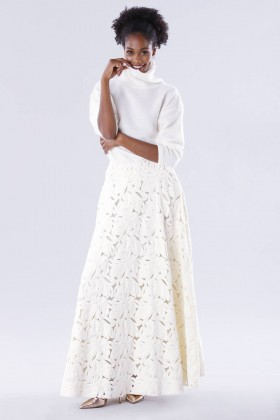 White suit with paisley skirt and sweater - Paule Ka - Rent Drexcode - 1