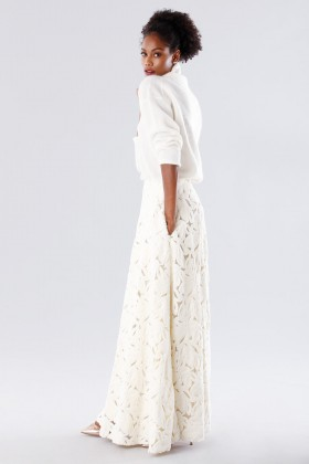 White suit with paisley skirt and sweater - Paule Ka - Rent Drexcode - 2